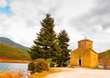 Small church. Beautiful old small church by the Doxa lake in Korinthia area in Greece Stock Photo