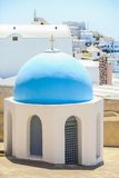 Small church with a blue dome and the view of the Royalty Free Stock Image