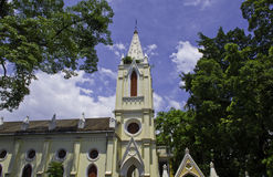 A small church with blue sky in Guangzhou. The church has a unique style and is popular in the town Stock Images