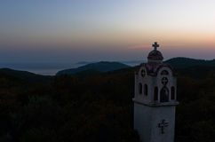 Small church or chapel on a hill near mountain Athos Stock Image