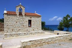 Small church on the coast of Crete in Greece.  Royalty Free Stock Images