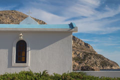 Small church on the coast of Greece Royalty Free Stock Photos