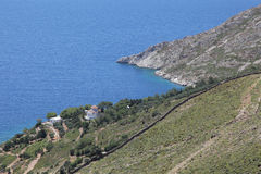 Small church and coastline on Patmos island Royalty Free Stock Photo