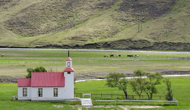 Small church in countryside Iceland Stock Image