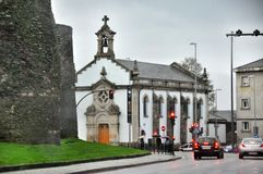 Small church in a cozy quiet street of the Spanish city of Lugo Royalty Free Stock Photos
