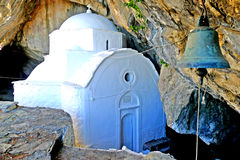 Panagia Makrini `Distant Virgin Mary` church, hidden in a cave of Kerkis mountain, Samos island, Greece stock photography