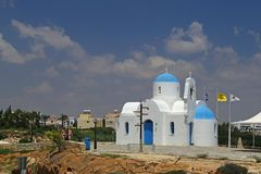 Small church by the golden coast hotel in protaras,cyprus Stock Image