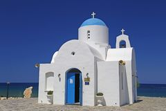 Small church by the golden coast hotel in protaras,cyprus Royalty Free Stock Photos