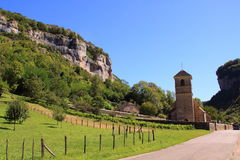 Small church and graveyard Baume les Messieurs royalty free stock images