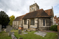 Small Church Guildford, Surrey. Samll church and graveyard in Guildford town centre, Surrey, England Stock Photography