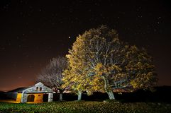 Small Church sanctuary and huge maple trees golden leaves in autumn night sky stock image