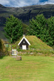 Small Church in Iceland. Church roof covered with grass in Iceland Stock Photos