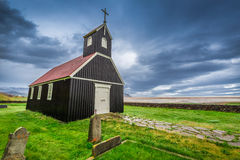 Small church, Iceland. Small black church in Iceland Royalty Free Stock Images