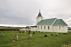 Small church in Icelandic village. Royalty Free Stock Images
