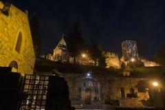 Small church inside Kalemegdan fortress at twilight, Belgrade Stock Image
