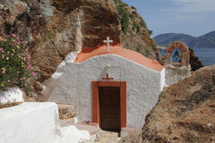 Small church on the island of Leros, Greece Royalty Free Stock Photo