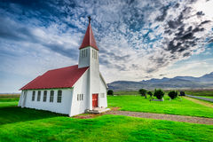 Small church in mountain, Iceland Stock Images