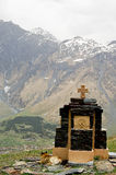Small church in the mountains of caucasus views from giorgia Stock Image