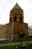 Small church in the mountains of caucasus views from giorgia Royalty Free Stock Photo