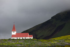 Small church in the mountains of Iceland Royalty Free Stock Photography