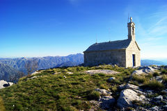 Small church in the mountains Orjen, Montenegro. Landscape with a small old church on top of a hill Stock Image