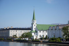 Small church near the pond in the center of Reykjavik, Iceland Royalty Free Stock Photos