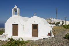 Small church near Pyrgos,  Santorini, Greece. Stock Photos