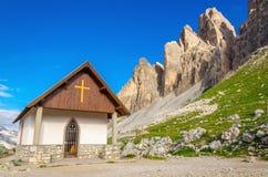 Small church near Tre Cime di Lavaredo, Dolomites Royalty Free Stock Image