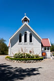 Small church in New Zealand. Small Anglican church in Hanmer Springs, New Zealand, on a bright summer's day Royalty Free Stock Photo