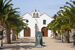 Small church with plaza at La Palma, Spain Stock Photography
