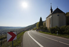 Small church on roadside at Mosel valley Royalty Free Stock Images