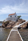 Small church on a rock island, Leros Royalty Free Stock Photography