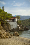 Small church at seaside in Lesvos Greece Stock Photography