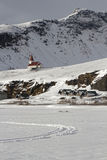A small church in snow landscape Stock Photo