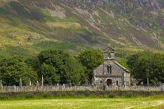 Small church at Snowdonia mountain range Stock Photo