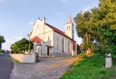 A small church at sunset in the city Dobzhen Wielki Royalty Free Stock Photo