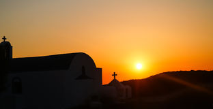 Small church at sunset stock image