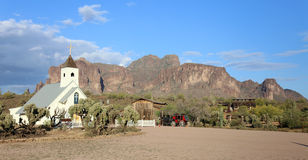 Small Church Superstition Mountains looking up from Apache Junction, Arizona Stock Image