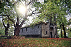 Small church surrounded with trees Royalty Free Stock Photography