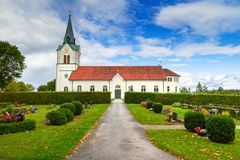 Small church in Sweden. Small church over the blue sky in Sweden Royalty Free Stock Images