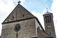 A small church with a tower clock in the old rural village of Rieden Germany Stock Photos