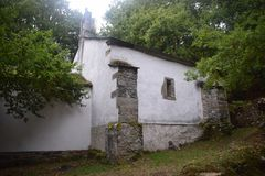 Small church with white wall Royalty Free Stock Images