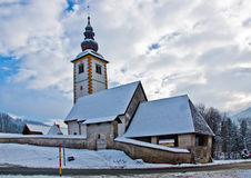 Small church in winter Stock Images