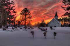 Small Church in Winter at Sunset. This is a small church in Willow River, Minnesota off interstate 35 Royalty Free Stock Images