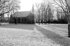 A small church in York in the UK. After some snowfall during Winter, in black and white Stock Photography