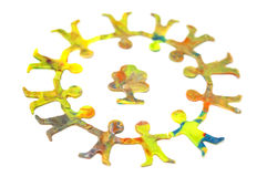 Small circle of diverse cheerful plasticine people Royalty Free Stock Photography