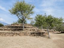 Small circular pyramid between trees in the archaeological zone of Guachimontones in Teuchitlan Mexico stock image