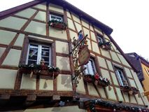 Small cities decorated for Christmas Strasbourg - Alsace, France. Strasbourg, Alsace, France - December 27, 2017: facades of houses decorated for Christmas in Royalty Free Stock Photography