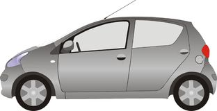 Small city car. Small japanese car, side view Royalty Free Illustration