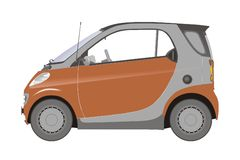 Small city car. Small orange car, side view Vector Illustration